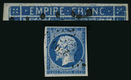 FRANCE - YT 14A - SECOND EMPIRE NAPOLEON III - VARIETE FILET BRISE - TIMBRE OBLITERE - 1853-1860 Napoléon III