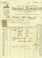 """Österreich Wien 1928 Rechnung Deko + Stempelmarke Fiskalmarke """" Emanuel BLUMENTHAL Herren- U Knabenkleider Textil """" - Autriche"""