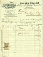 """Österreich Wien + Inzersdorf 1928 Rechnung Deko + Stempelmarke Fiskalmarke """" Brüder SELINKO Mechanische Weberei """" - Austria"""