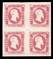 Italia: Antichi Stati - Sardegna - Effige Vittorio Emanuele II - 40 C. Rosa - 1851 / Quartina - Sardaigne