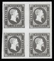 Italia: Antichi Stati - Sardegna - Effige Vittorio Emanuele II - 5 C. Nero - 1851 / Quartina - Sardaigne