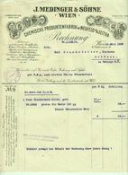 """Österreich Wien + Neufeld Leitha Leithabanat 1929 Rechnung Deko """" J.MEDINGER & Söhne Chemische Produktenfabrik Chemie """" - Austria"""
