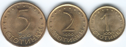 Bulgaria - 2000 - 1, 2 & 5 Stotinki (KMs 237a, 238a & 239a) Magnetic - Bulgaria