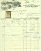 """Österreich Wien + Utschau NÖ+  Frankstadt Klogsdorf CSR 1929 Rechnung + Stempelmarke """" SIMON MANDLER Wirkwarenfabriken """" - Austria"""