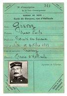 VP17.150 - SAINT DIE 1939 - Rare Carte D'Electeur Avec Photo - Mr GRAVOZ Retraité Des Douanes ( Douanier ) Né à BUSSANG - Mapas