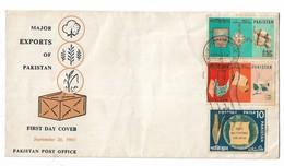 Pakistan 1967 FDC Major Export Products. Rice, Cotton, Jute, Cloth, - Pakistan