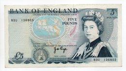- Billet ANGLETERRE - 5 POUNDS - BANK OF ENGLAND - - 1952-… : Elizabeth II