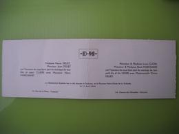 1256  Faire Part De Mariage Henri Marchand Et Claire Deliet, Louis Clion  René,11 Avril 1942 à Toulouse 31 Libourne 33 - Mariage