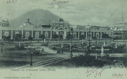 Lima Palacio De Gobierno Pionneer Card Bleu à La Lune Polack  Used 1903 To Mende Lozère - Peru
