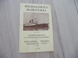 Guide Touristique Messagerie Maritimes Plan Texte Photos Escale De Singapore Penang Bango Java 1933 André Lebon - Bateaux