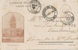 Lima Torre De Sto Domingo Pionnière 1898  To Courbevoie France - Peru