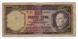 - Billet TURQUIE - 500 TÜRK LIRASI - TÜRKIYE GUMHURIYET MERKEZ BANKASI - - Turkey