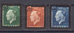 Grece 1947 Yvert 542 / 544 ** Neufs Sans Charniere. Timbres De 1937 Surcharges. Geoge II - Griechenland