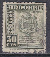 Andorre Espagnol N° 45 O Partie De Série :30 C. Vert-gris,  Oblitéré Sinon TB - Usati