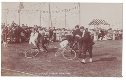POST CARD LYMINGTON FLOWER SHOW 1909  Animation Mens Bicycle - England