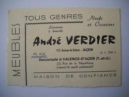 1259 CDV Carte Visite André VERDIER Meubles En Tous Genres Agen 47, Valence D'Agen 82, Neufs Et Occasions - Mapas