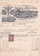 """Fattura  Comm Con Marca Da Bollo -  Praga, Fabbrica Di Sughero,lavorazione A Vapore  """"Stern  &  Renner """" - Facturas & Documentos Mercantiles"""