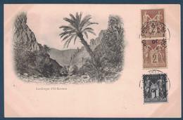 1900 - OBLITÉRATION CAD De CONSTANTINE (ALGÉRIE) Sur CP GORGES D'EL-KANTARA AFFRANCHIE SAGE 1c + 2c X 2 Pour NICE FRANCE - Storia Postale