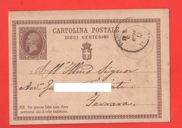 Cartolina Postale Da 10 Centesimi X Ferrara Da Bologna 1875 - 1861-78 Vittorio Emanuele II