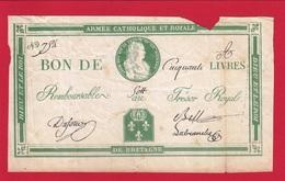 BILLET DE L'ARMÉE CATHOLIQUE ET ROYALE 50 LIVRES ASSIGNAT IMPRESSION VERTE PAPIER ÉPAIS  AVEC MANQUES ! Serbon63 - Assignats & Mandats Territoriaux