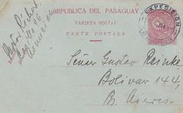 PARAGUAY ENTIER CARTE POSTALE, CIRCULEE DE ASUNCION A BUENOS AIRES, ARGENTINE ANNEE 1935 -LILHU - Paraguay