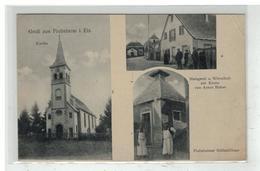 67 PLOBSHEIM #11871 GRUSS AUS KIRCHE EGLISE ABATTOIR METZGEREI WIRTSCHAFT VON HUBER PLOBSHEIMER SCHLACHTHAUS - Autres Communes