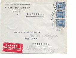 SH 0531. Bande De 3 N° 257 OOSTENDE 2 - 9.XII.31 S/Lettre EXPRES V. COLOGNE. Au Dos Enc. N° 12 + 2 Cachets De COLOGNE.TB - Belgium