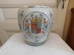 Grand Pot En Porcelaine De Chine Marqué ENGELANDT Décor Armorié Oiseaux Et Insectes Hr 31cm - Asian Art
