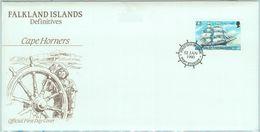 84373 - FALKLAND - Postal History - High Value Stamp On FDC COVER 1990 - SHIPS - Islas Malvinas
