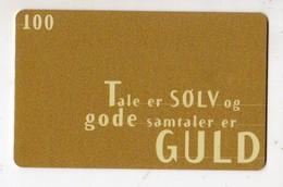 DANEMARK TELECARTE TELEKORT 100 KR Tale Er SOLV Og Gode Samtaler Er GULD Date 2000 - Denemarken