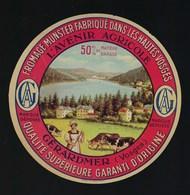 """étiquette Fromage Munster 50%mg L'Avenir Agricole Gérardmer Vosges 88 """" Femme, Vaches, Lac"""" - Fromage"""