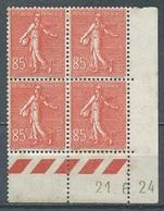 France YT N°204 Semeuse Lignée (Bloc De Quatre Coin Daté 21.6.24) Neuf ** 2ND CHOIX - 1903-60 Sower - Ligned