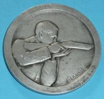 Rare Médaille En Bronze Argenté Tir Tireur Fusil F E Fraisse Ministère De L'instruction Publique Militaria - Firma's