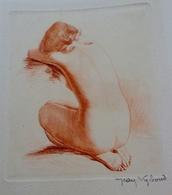 NU ASSIS . FEMME NUE DE DOS . EAU FORTE à La Manière D'une Sanguine Signée Jean VYBOUD (1872-1944) , NUDE WOMAN - Lithographies