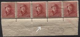 N°168 Roi Casqué Bande De 5 Bdf Xx Et X Marque DEPOT 1919 + Curiosité N° De Planche 6 Imprimé INVERSE - 1919-1920 Roi Casqué