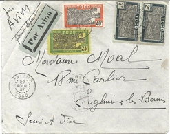 LETTRE PAR AVION. DE PALIME POUR LA FRANCE . 1937 - Togo (1914-1960)
