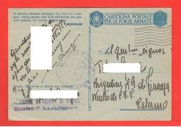 Regia Guardia Di Finanza Franchigia Da Pesaro X Palermo 1942 - Franchigia