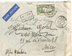 LETTRE PAR AVION. DE LOME POUR NICE . RETOUR A L'ENVOYEUR. 1941 - Togo (1914-1960)