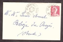 Enveloppe - 30 Décembre 1955 - Cachet Rond Tireté St Quentin La Tour (Ariège) Pour Belvèze Du Razès (Aude) - TP N° 1011 - Storia Postale