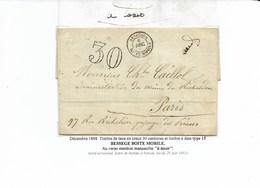 Taxe 30 DT BESSEGES BOITE MOBILE 1868  + Mention à La Plume A Taxer . Rare - Marcophilie (Lettres)
