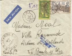 LETTRE PAR AVION. DE LOME POUR LA BAULE . RELATIONS INTERROMPUES CAUSE GUERRE . +CONTROLE POSTAL EN FM - Togo (1914-1960)