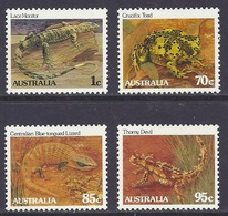 Australia - 1983 Fauna, Animals, Reptiles, Endangered Species, Lizard, Toad, Lace Monitor, Thorny Devil - (Set) MNH - 1980-89 Elizabeth II