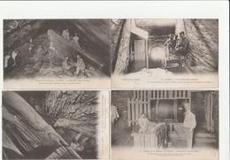 4 CPA:FUMAY (08) OUVRIERS ARDOISIÈRE SAINT JOSEPH,LA REMONTE DES OUVRIERS DU FOND,WAGON DE PIERRE TREUIL DU FOND - Fumay