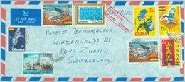 84376 - GHANA - Postal History - COVER To SWITZERLAND 1973 - BIRDS Orchids FISH - Ghana (1957-...)