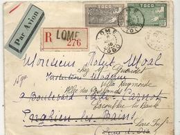 LETTRE PAR AVION+ RECOMMANDE . DE LOME  POUR FRANCE - Togo (1914-1960)