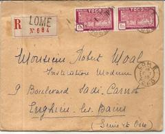LETTRE EN RECOMMANDE . DE LOME  POUR FRANCE - Togo (1914-1960)