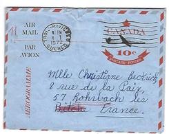 CANADA - Enveloppe Avion - Air Mail - Québec - Aérogramme - Entier 10 C - TROIS RIVIERES 4 1 1972 - Bitche Moselle - Storia Postale