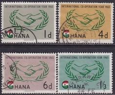 GHANA 1965 SG 365-68a Compl.set+m/s Used Int.Co-operation Year CV £10.50 - Ghana (1957-...)