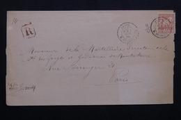 FRANCE - Lettre En Recommandé De Paris Pour Paris En 1879 , Affranchissement Sage 40ct - L 62112 - Storia Postale