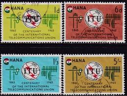 GHANA 1965 SG 369-72 Compl.set Used ITU Centenary - Ghana (1957-...)